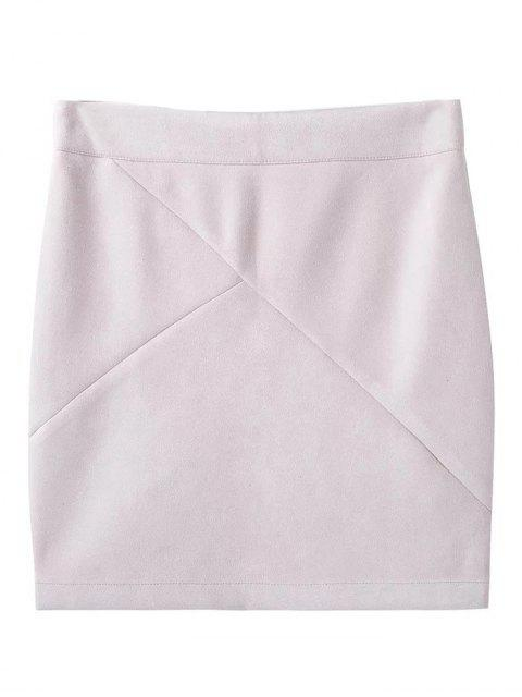 fancy Fake Suede Mini Skirt - WHITE S Mobile