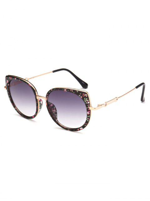 unique Full Rims Floral Cat Eye Sunglasses - BLACK  Mobile