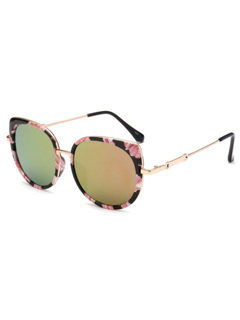 sale Floral Cat Eye Mirrored Sunglasses - GOLDEN  Mobile