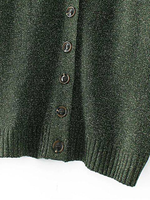hot Oversized Single Breasted V Neck Cardigan - GREEN M Mobile