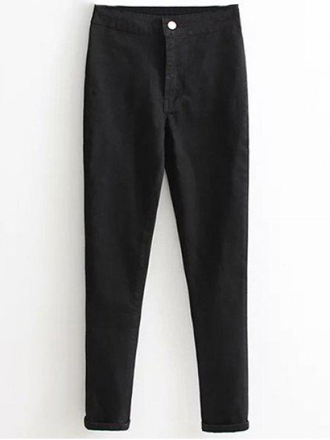 unique High Waist Skinny Tapered Jeans - BLACK S Mobile