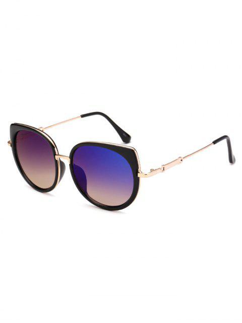 women's Cat Eye Mirror Sunglasses - BLUE  Mobile