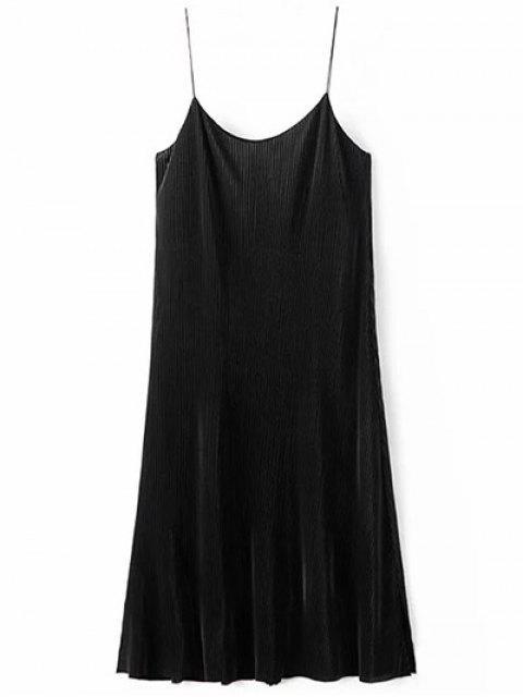 women Ruched Vintage Midi Dress - BLACK S Mobile
