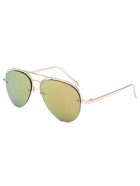 new Half Frame Pilot Mirrored Sunglasses - GOLDEN  Mobile