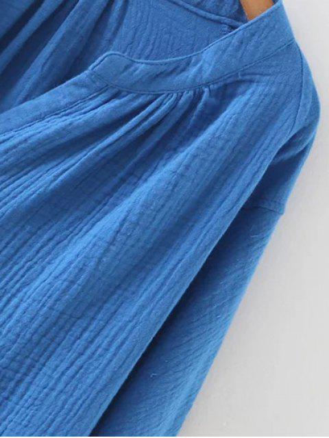 affordable Batwing Curved Hem Blouse - BLUE L Mobile