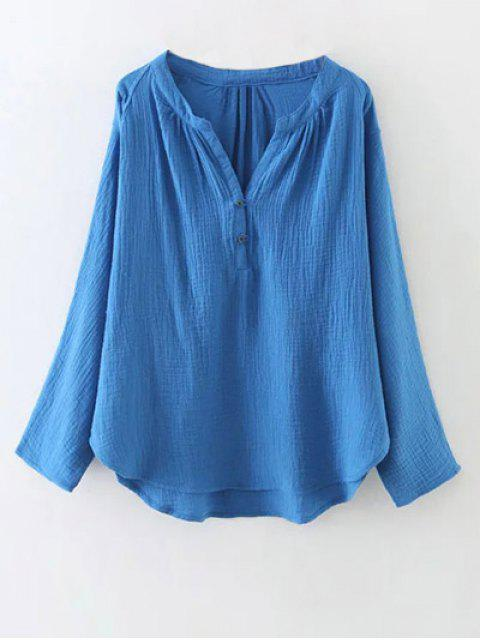 buy Batwing Curved Hem Blouse - BLUE M Mobile