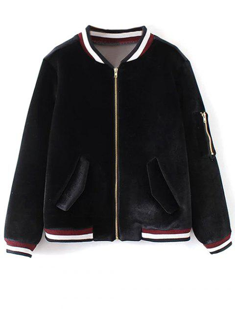 lady Velvet Zipped Bomber Jacket - BLACK S Mobile