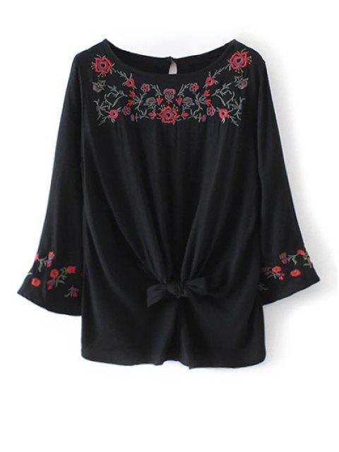 ladies Flare Sleeve Floral Embroidered Blouse - BLACK S Mobile