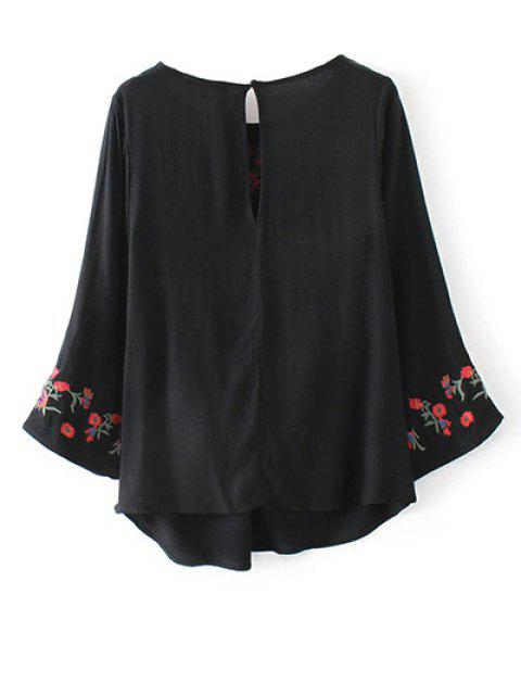 women's Flare Sleeve Floral Embroidered Blouse - BLACK M Mobile