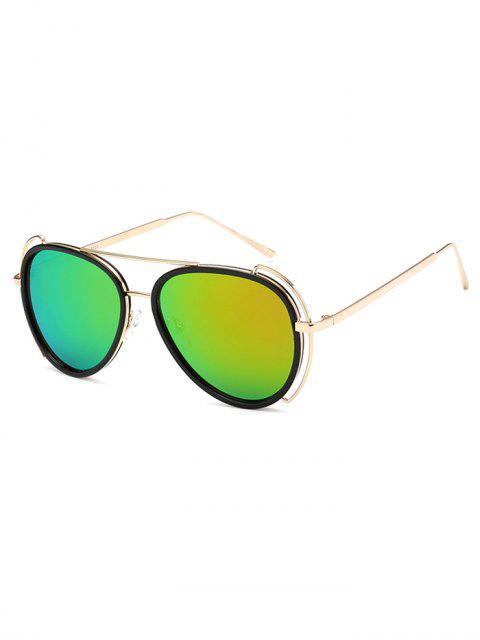 shops Hollow Out Frame Pilot Mirrored Sunglasses -   Mobile