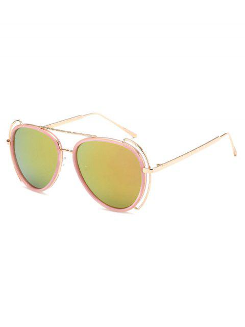 latest Hollow Out Frame Pilot Mirrored Sunglasses -   Mobile