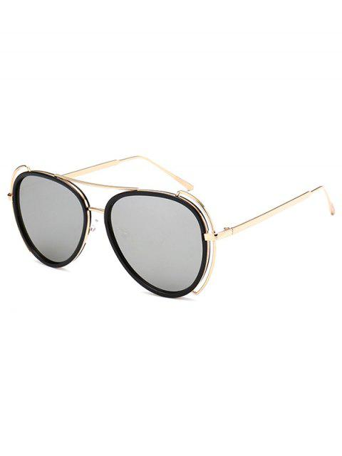 trendy Hollow Out Frame Pilot Mirrored Sunglasses -   Mobile