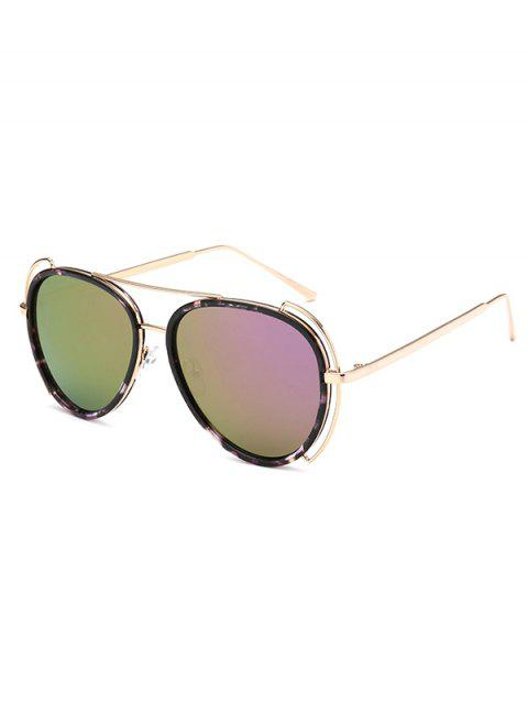 fancy Floral Frame Pilot Mirrored Sunglasses - LIGHT PURPLE  Mobile