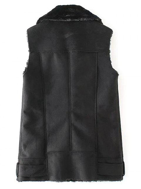 affordable Zipped Faux Shearling Waistcoat - BLACK L Mobile