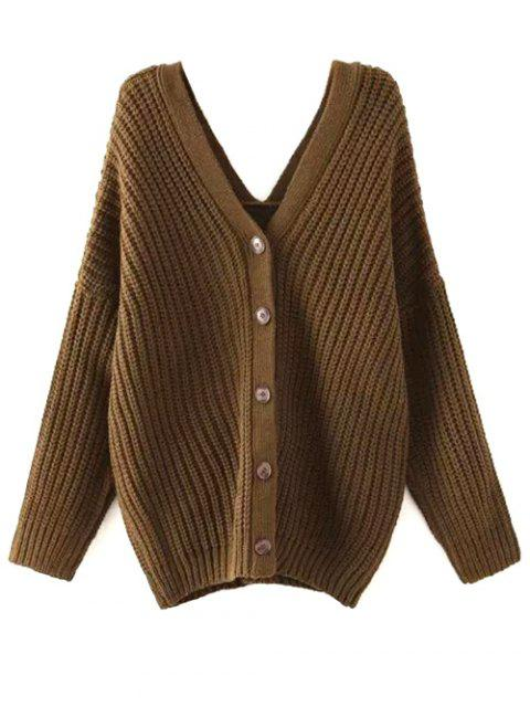 latest Buttoned Oversized Dolman Cardigan - ARMY GREEN M Mobile