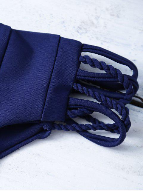 sale Strappy Criss Cross Bikini Bathing Suit - PURPLISH BLUE S Mobile