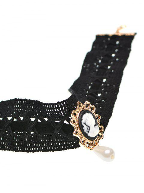 online Faux Pearl Queenly Portrait Choker - BLACK  Mobile