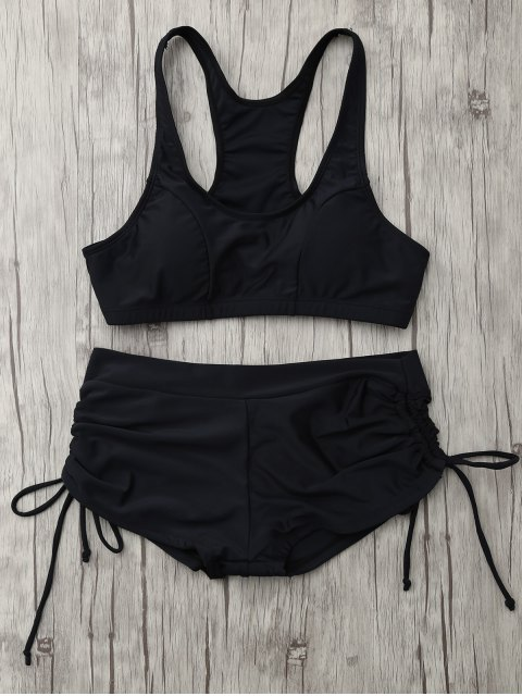 latest Lace Up Padded Sporty Bikini Set - BLACK M Mobile