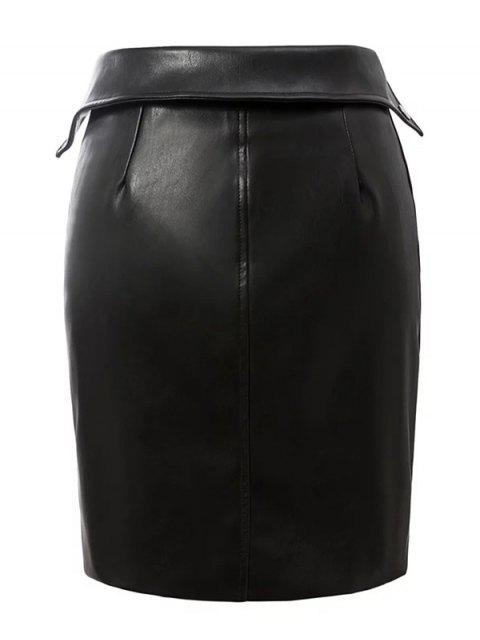 online PU Leather Zippered Bodycon Skirt - BLACK S Mobile