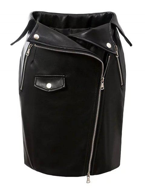 best PU Leather Zippered Bodycon Skirt - BLACK M Mobile