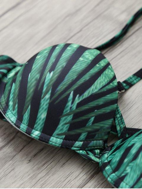 hot Printed Underwire Strappy Bikini - GREEN XL Mobile
