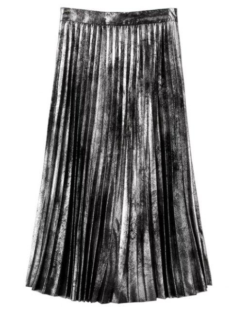 new Hot Fix Pleated Skirt - SILVER L Mobile