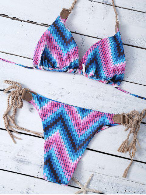 chic Reversible Stripes Halter String Bikini - STRIPE L Mobile