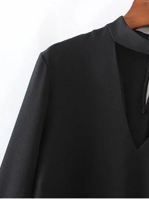 women's High Low Choker Blouse - BLACK L Mobile