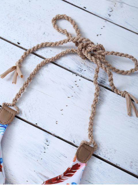 sale Halter Reversible Feather Print String Bikini - BLUE AND WHITE XL Mobile