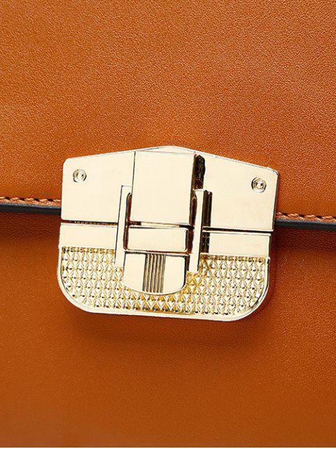 shop PU Leather Metal Crossbody Handbag - BROWN  Mobile