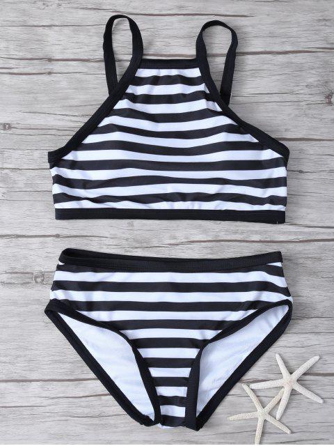 fashion High Neck Stripe Bikini Set - WHITE AND BLACK M Mobile