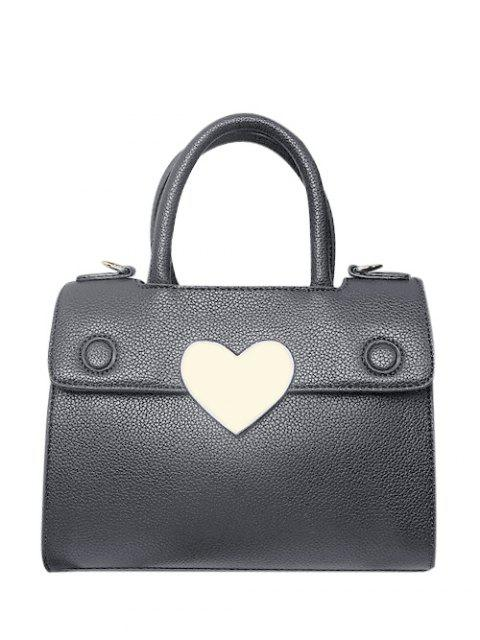 chic Metal Heart PU Leather Handbag - GRAY  Mobile