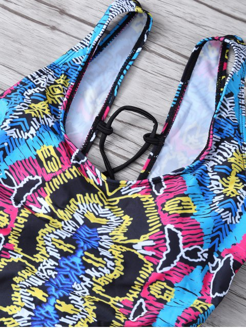 sale High Leg Printed Tummy Control Swimsuit - MULTICOLOR M Mobile