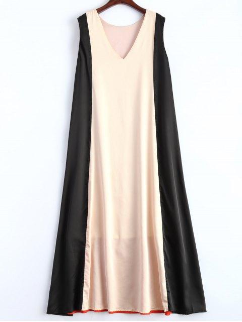 outfits Color Block V Neck Trapeze Maxi Dress - MULTICOLOR S Mobile