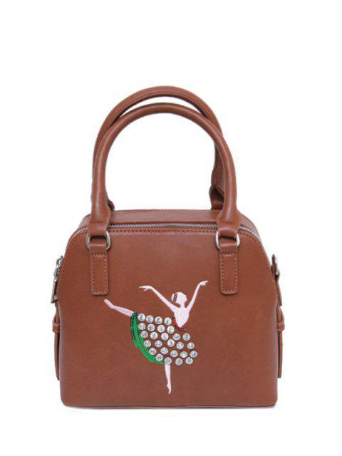 women's Sequined Rhinestones Zipper Tote Bag - BROWN  Mobile