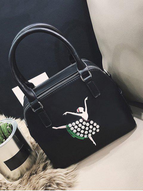 ladies Sequined Rhinestones Zipper Tote Bag - BLACK  Mobile
