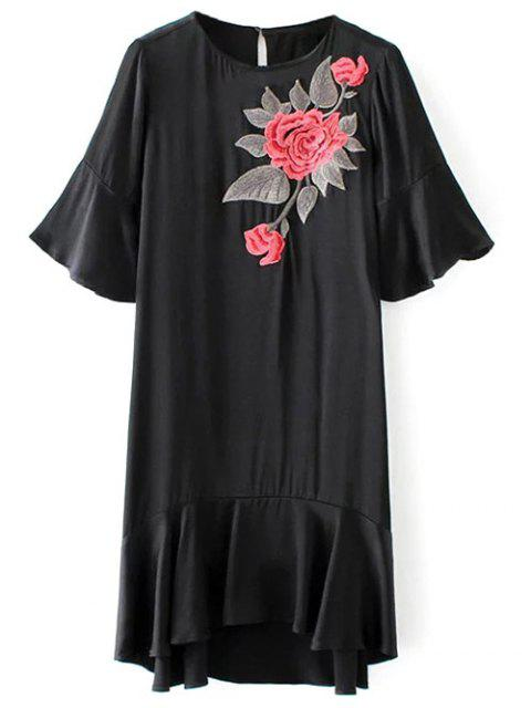 hot Ruffle Floral Embroidered A-Line Dress - BLACK S Mobile