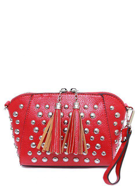 fancy PU Leather Tassel Studded Clutch Bag -   Mobile