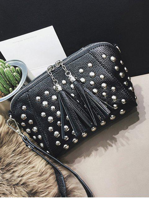 unique PU Leather Tassel Studded Clutch Bag -   Mobile