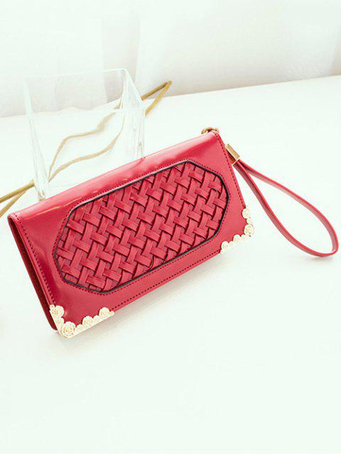 trendy Woven PU Leather Clutch Wallet -   Mobile