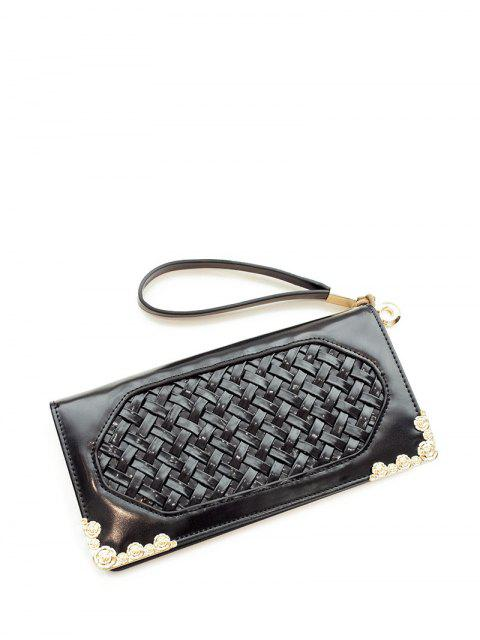 chic Woven PU Leather Clutch Wallet -   Mobile
