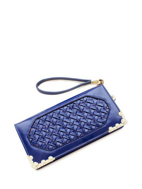 fancy Woven PU Leather Clutch Wallet - BLUE  Mobile