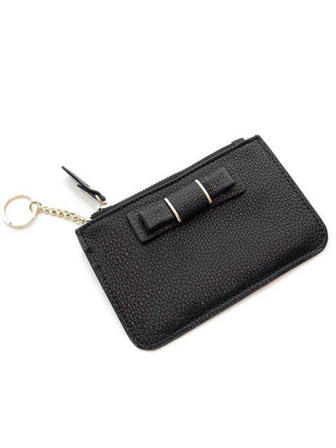 sale Bowknot PU Leather Coin Purse - BLACK  Mobile