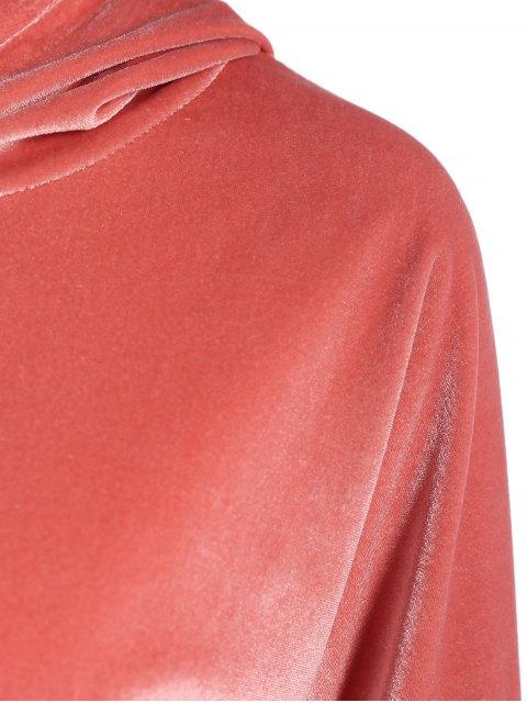 ladies Hooded Long Sleeve Velvet Casual Dress - PINK S Mobile