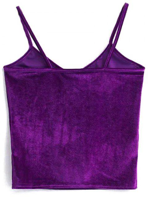 women Velvet Cropped Cami Top - PURPLE ONE SIZE Mobile