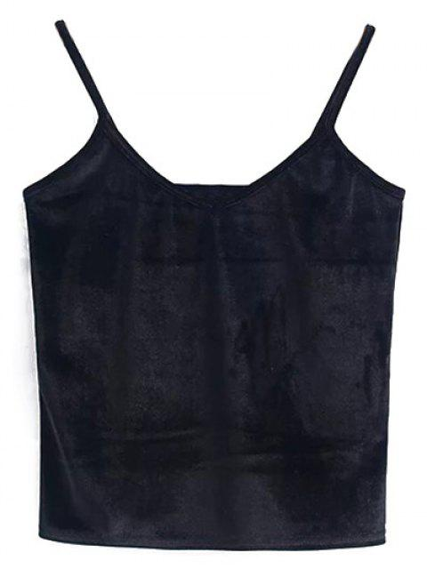 ladies Velvet Cropped Cami Top - BLACK ONE SIZE Mobile