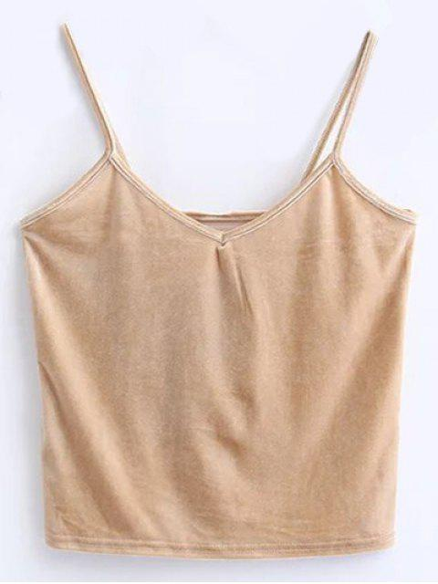 lady Velvet Cropped Cami Top - KHAKI ONE SIZE Mobile