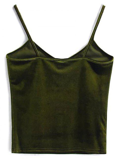 best Velvet Cropped Cami Top - OLIVE GREEN ONE SIZE Mobile