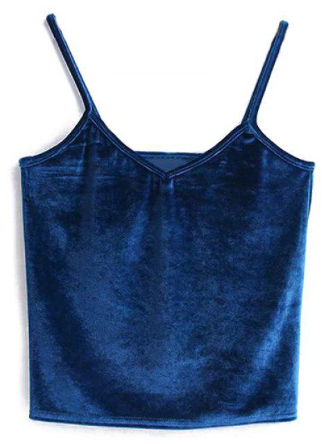 online Velvet Cropped Cami Top - PEACOCK BLUE ONE SIZE Mobile