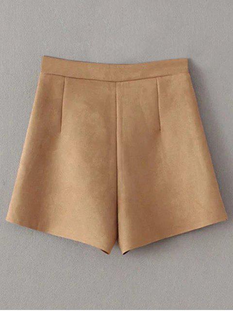 lady Suede Pockets Shorts - KHAKI L Mobile